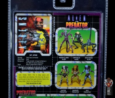 neca aliens sgt apone figure review - package bio top