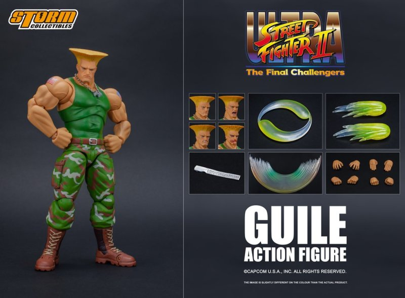 storm collectibles street fighter ii guile figure - collage
