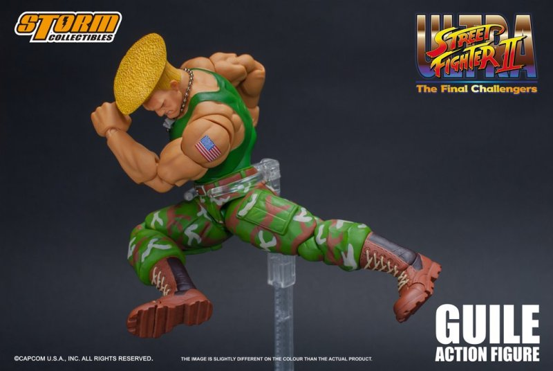 storm collectibles street fighter ii guile figure - jump kick
