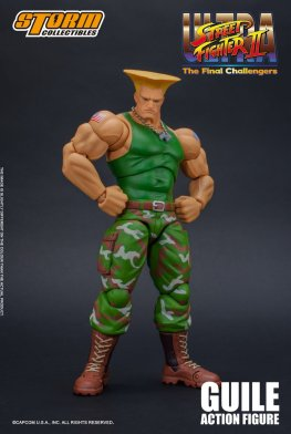 storm collectibles street fighter ii guile figure - ready for action