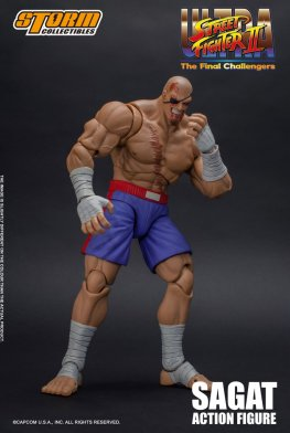 storm collectibles street fighter ii sagat figure - bloody stance