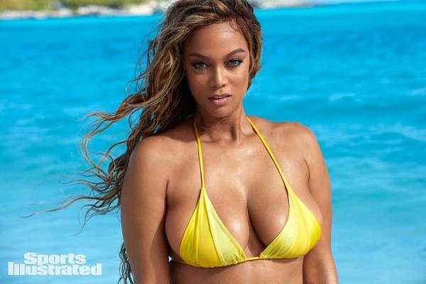 tyra banks sports illustrated 2019 pictorial - yellow bikini wide shot