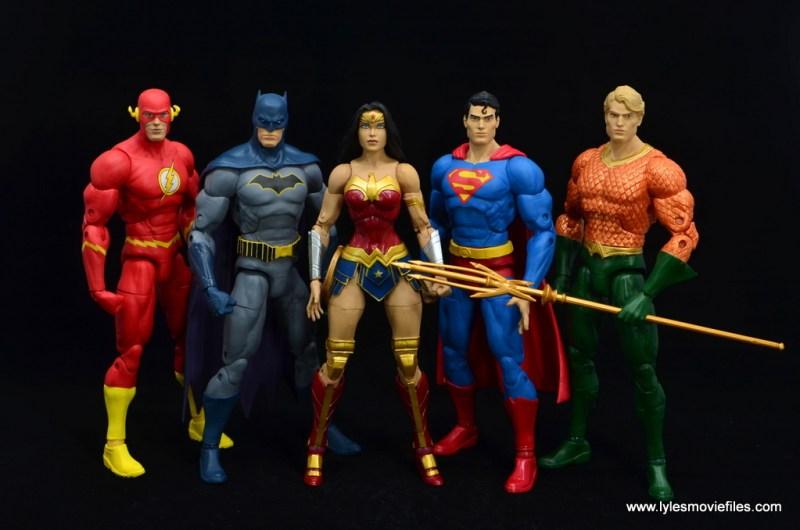 DC Essentials Wonder Woman figure review - with flash, batman, superman and aquaman