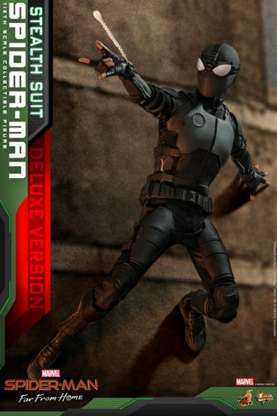 Hot Toys Spider-Man Stealth Suit Figure - on the wall