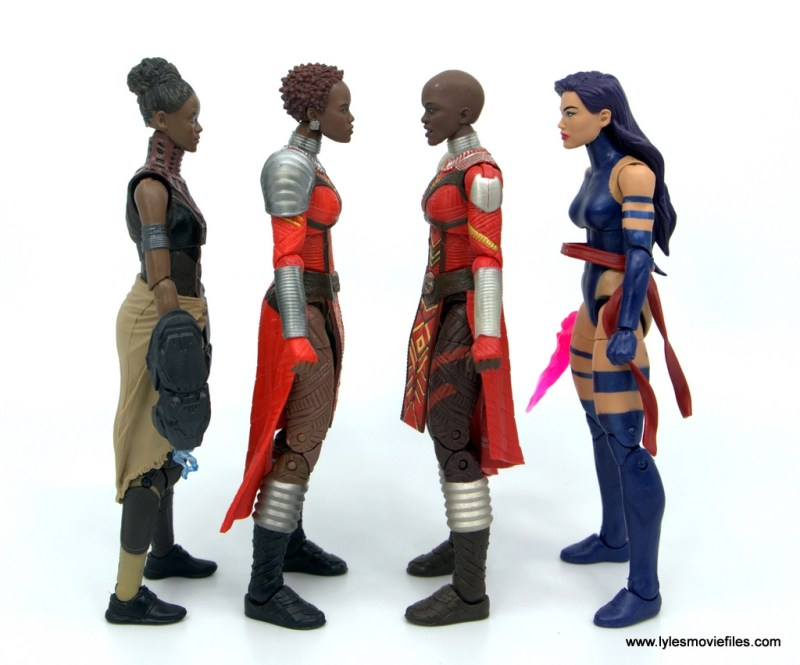 Marvel Legends Dora Milaje figure review - scale with shuri, nakia and psylocke