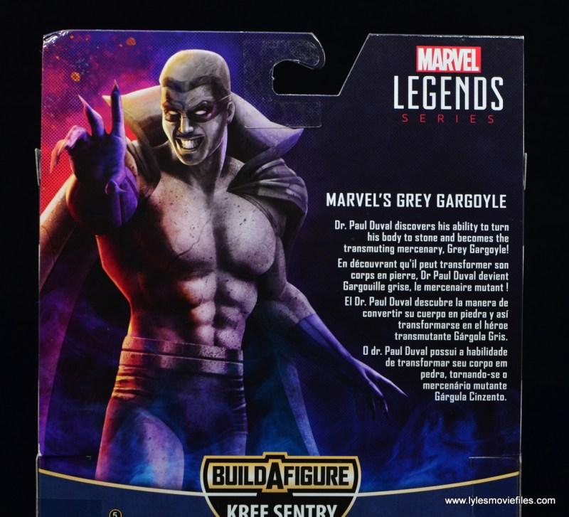 Marvel Legends Grey Gargoyle figure review - package bio