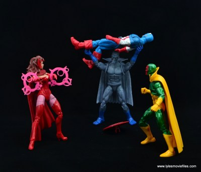 Marvel Legends Grey Gargoyle figure review - picking up cap while scarlet witch and vision arrive