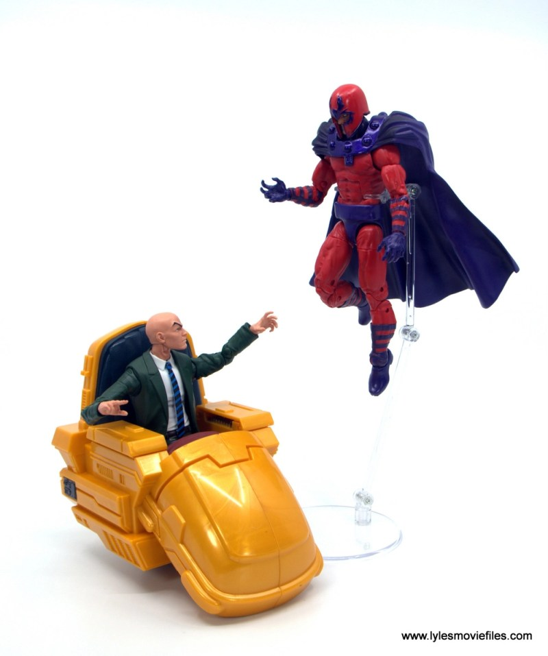 Marvel Legends Magneto, Quicksilver and Scarlet Witch figure review - magneto facing off with professor xavier