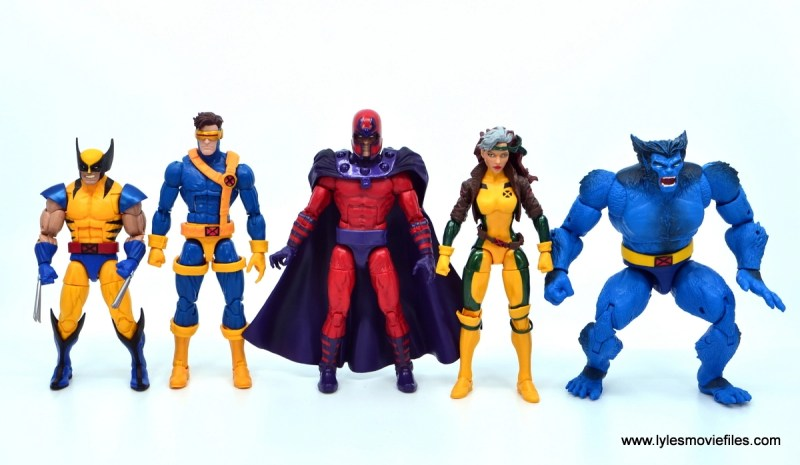 Marvel Legends Magneto, Quicksilver and Scarlet Witch figure review - magneto scale with wolverine, cyclops, rogue and beast
