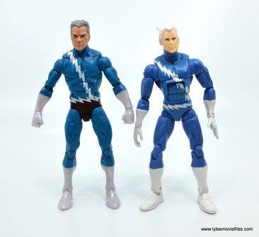 Marvel Legends Magneto, Quicksilver and Scarlet Witch figure review - quicksilver next to hasbro first quicksilver