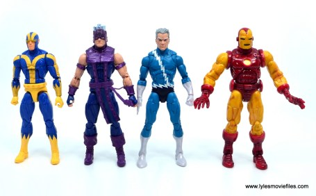 Marvel Legends Magneto, Quicksilver and Scarlet Witch figure review - quicksilver scale with goliath, hawkeye and iron man