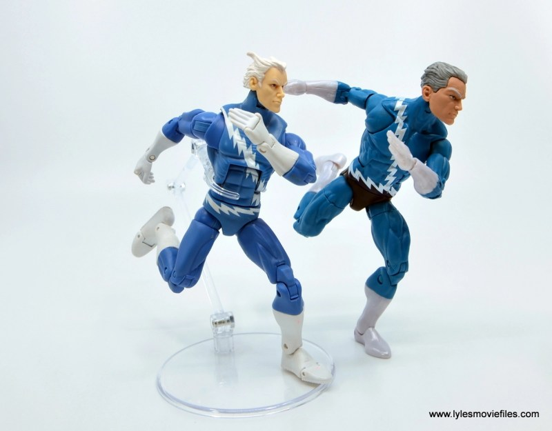 Marvel Legends Magneto, Quicksilver and Scarlet Witch figure review - running stance with first hasbro quicksilver