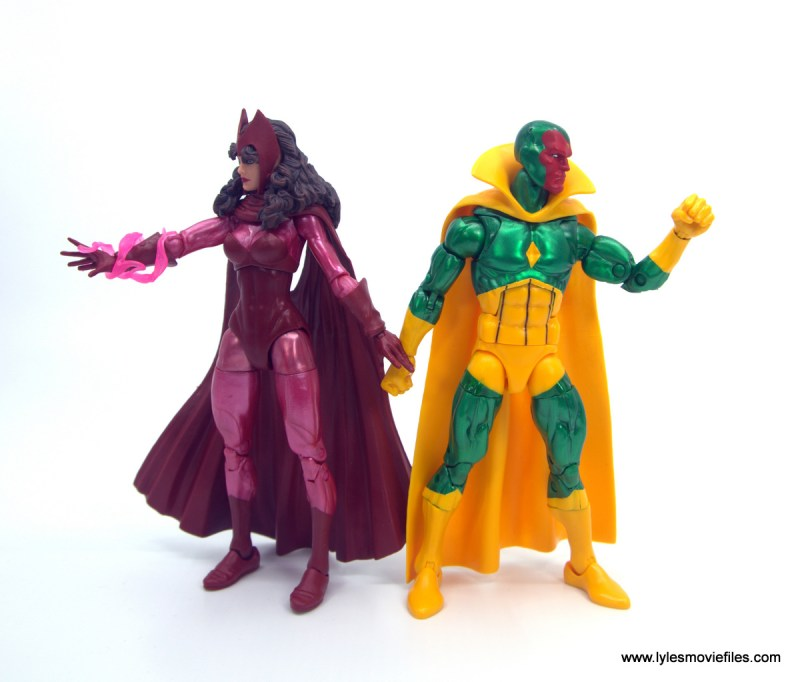 Marvel Legends Magneto, Quicksilver and Scarlet Witch figure review - scarlet witch back to back with vision
