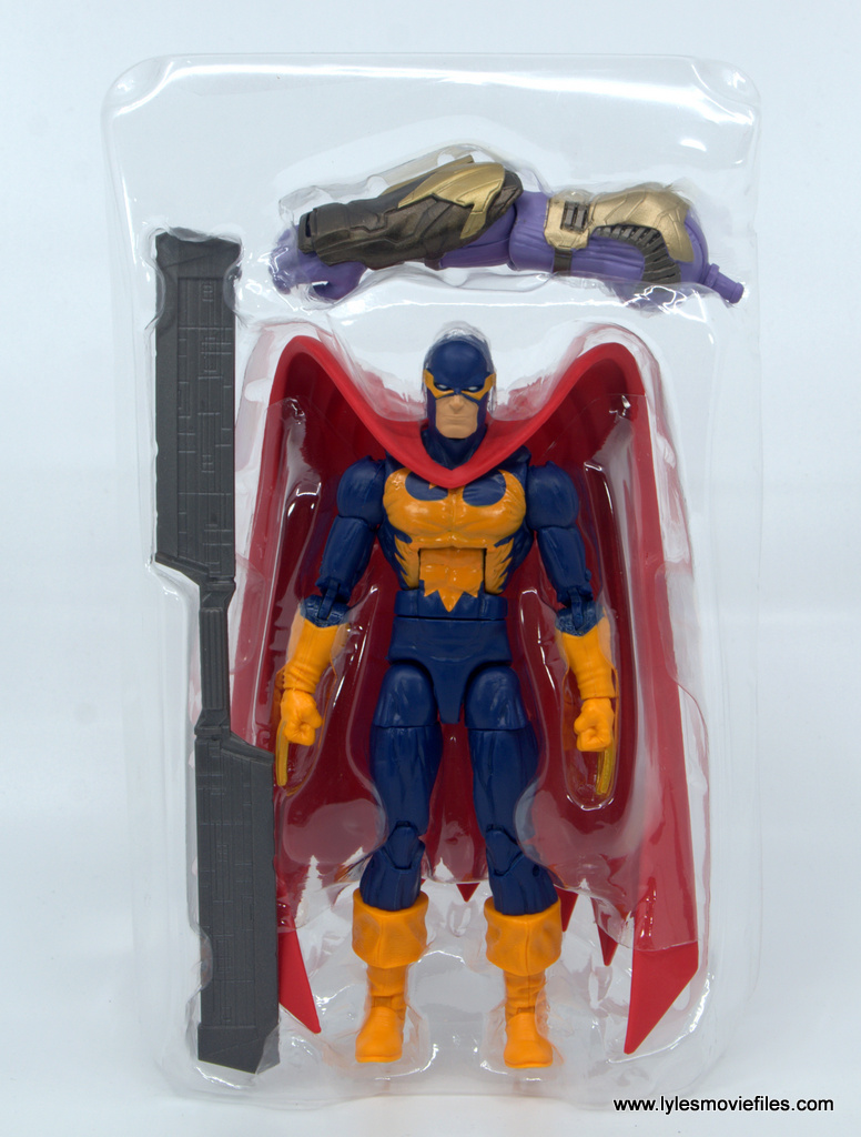 Marvel Legends Nighthawk figure review - accessories in tray