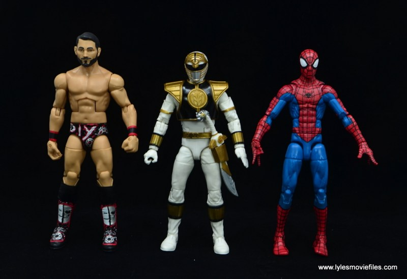 Power Rangers Lightning Collection White Ranger figure review -scale with wwe elite johnny gargano and marvel legends spider-man