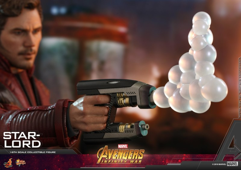 hot toys avengers infinity war star-lord figure -shooting bubbles