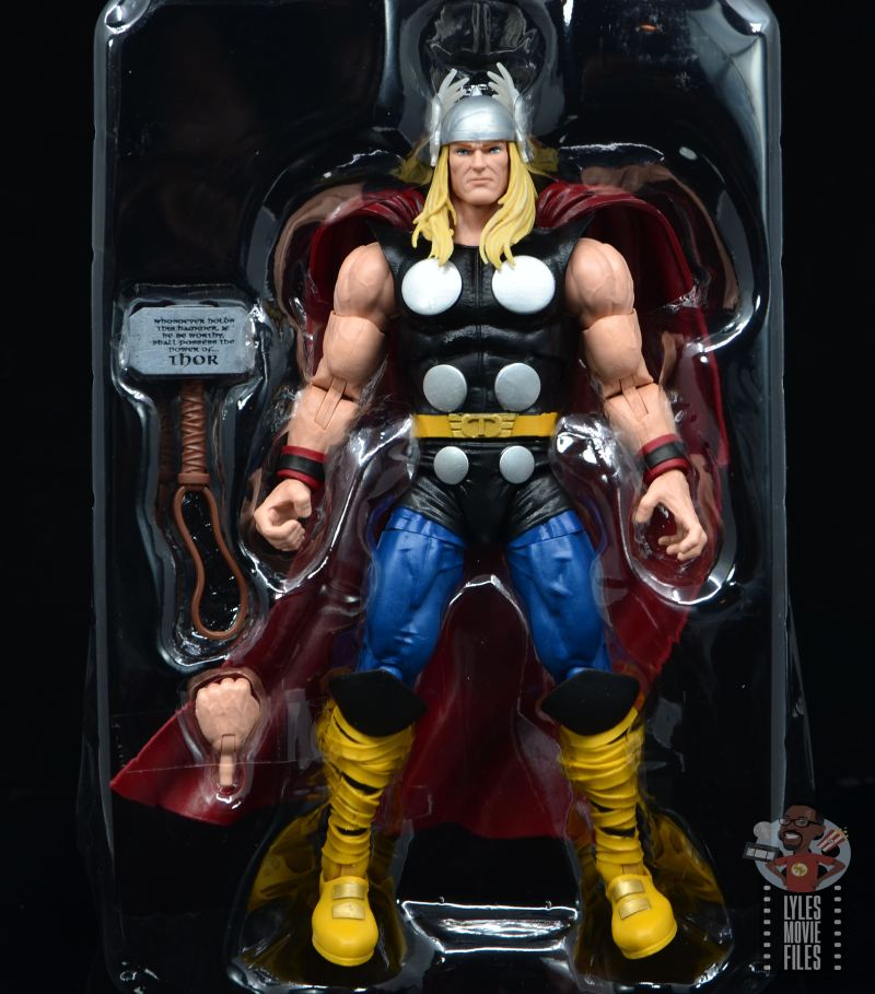 Marvel Legends 80th Thor figure review - figure in plastic tray