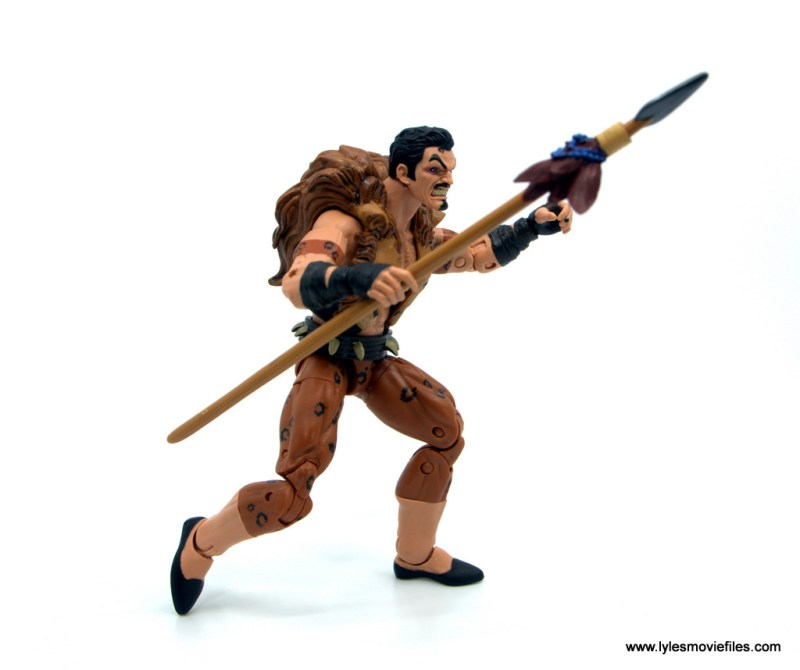 Marvel Legends Kraven and Spider-Man two-pack figure review - kraven with spear side