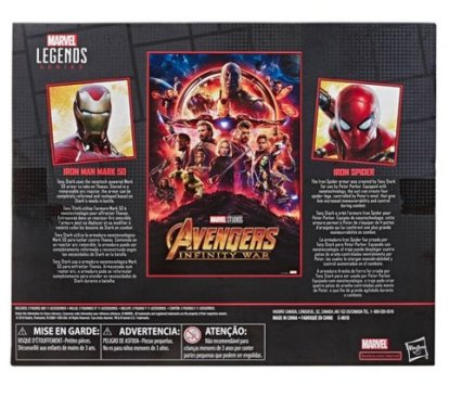 Marvel Legends Series Avengers Infinity War 6 Movie-Inspired Iron Man And Iron Spider 2-Pack (SDCC Debut) Target - rear packaged