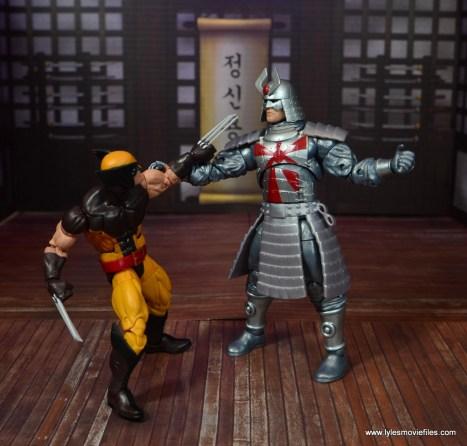 Marvel Legends Silver Samurai figure review - blocking wolverine
