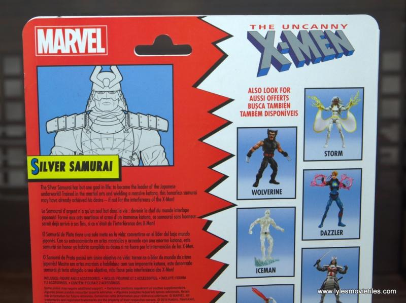 Marvel Legends Silver Samurai figure review -package bio
