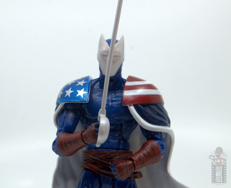 marvel legends citizen v figure review - holding sword up