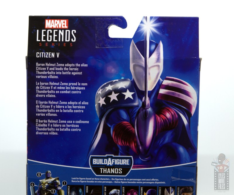 marvel legends citizen v figure review - package bio