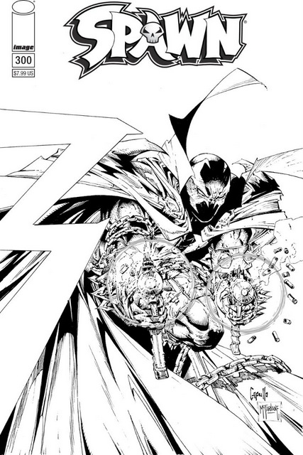 spawn #300 cover black and white cover