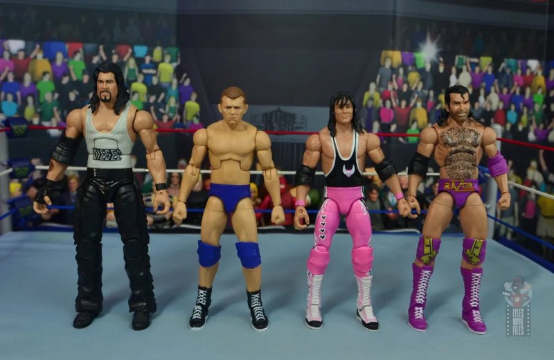 wwe elite bob backlund figure review - scale with diesel, bret hart and razor ramon
