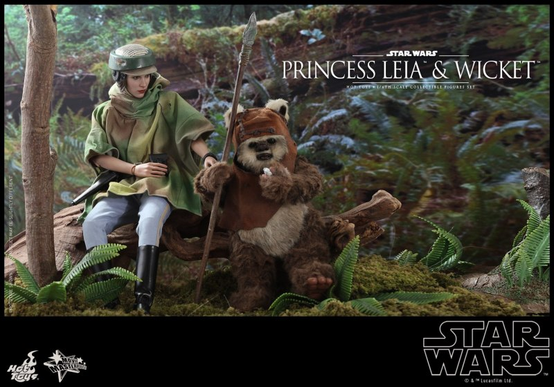 hot toys return of the jedi princess leia and wicket figures - having a snack