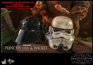 hot toys return of the jedi princess leia and wicket figures - stormtrooper helmets