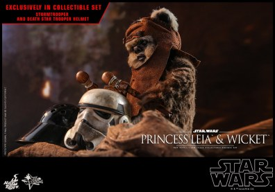 hot toys return of the jedi princess leia and wicket figures -wicket playing the drums