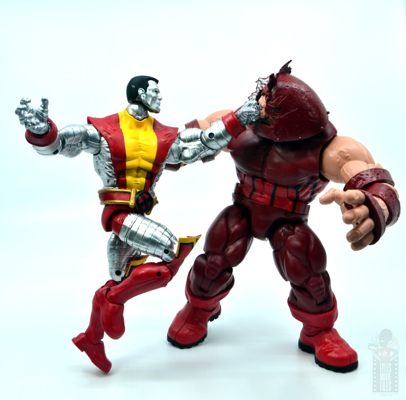 marvel legends colossus and juggernaut figure review 80th anniversary - colossus punching juggernaut face