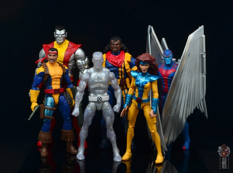 marvel legends iceman figure review - with forge, colossus, bishop, jean grey and archangel