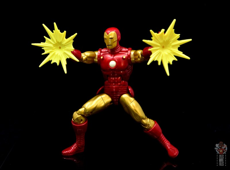 marvel legends iron man 80th anniversary figure review -firing repulsors