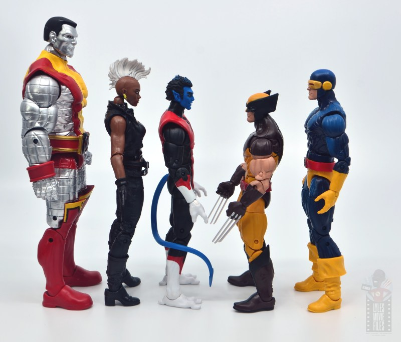 marvel legends nightcrawler figure review facing colossus, storm, wolverine and cyclops