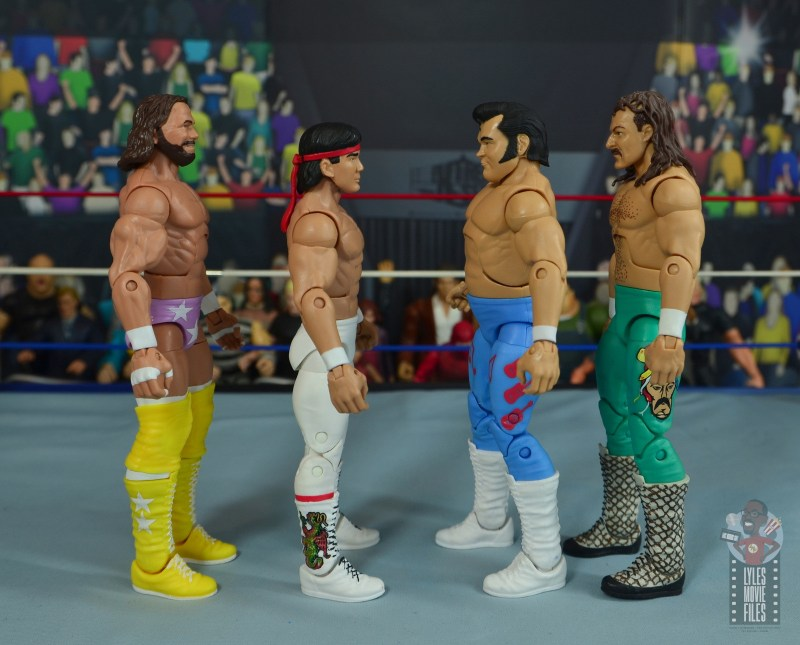 wwe retrofest honky tonk man figure review - scale with macho man, ricky steamboat and jake the snake roberts