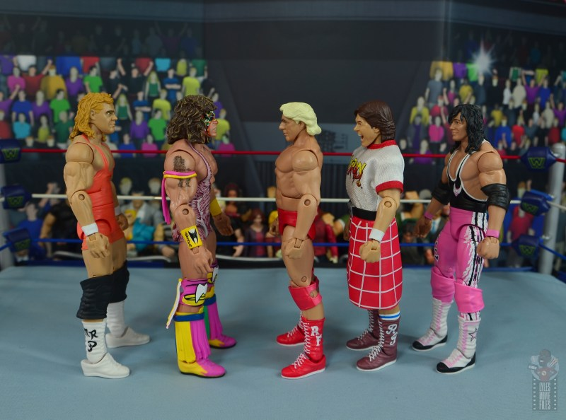 wwe retrofest ric flair figure review - scale with mr perfect, ultimate warrior, rowdy piper and bret hart