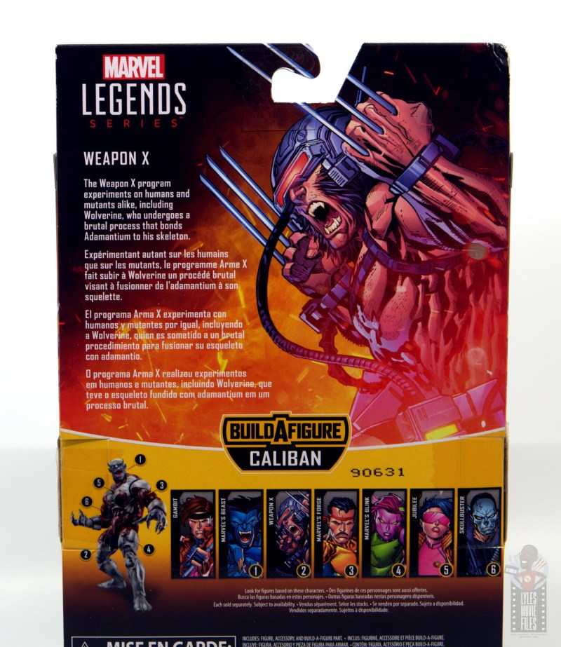 Marvel Legends Weapon X figure review -package bio
