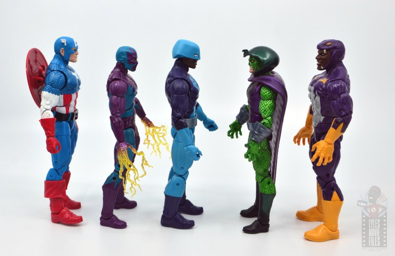 marvel legends rock python figure review - scale with captain america and serpent society