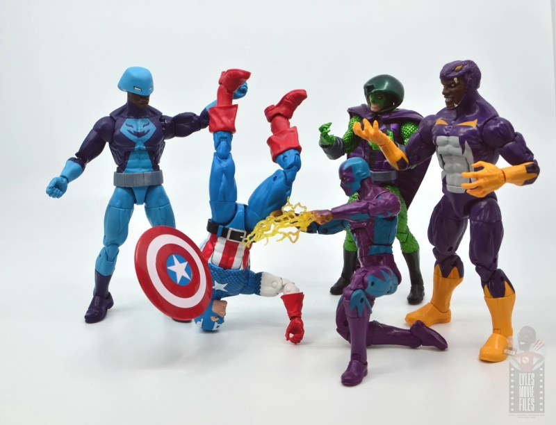 marvel legends rock python figure review - serpent society with defeated captain america