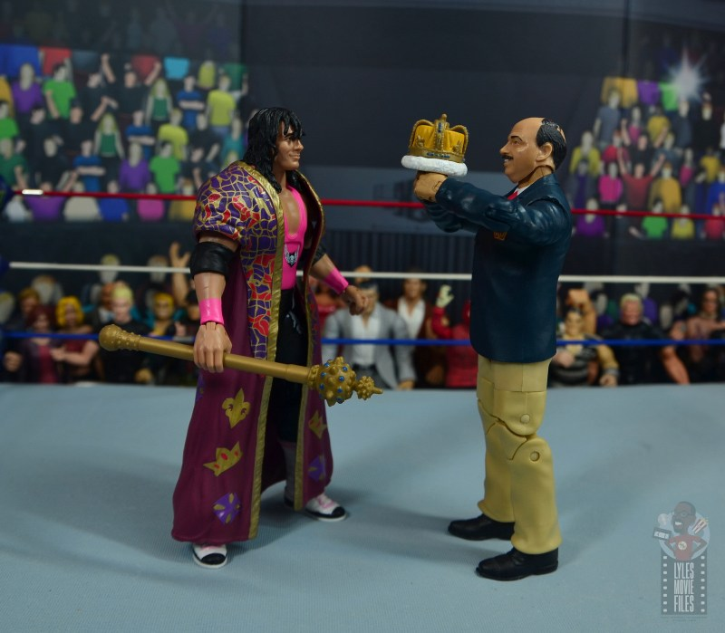 wwe bret hart king of the ring 1993 figure review - getting crowned by mean gene okerlund