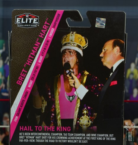 wwe bret hart king of the ring 1993 figure review - package rear stats
