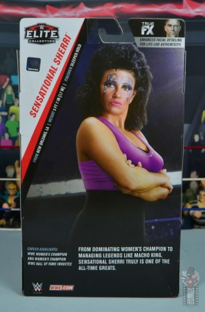wwe elite sensational sherri figure review - package rear