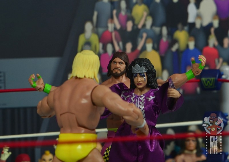 wwe elite sensational sherri figure review - stopping hogan from getting to macho king