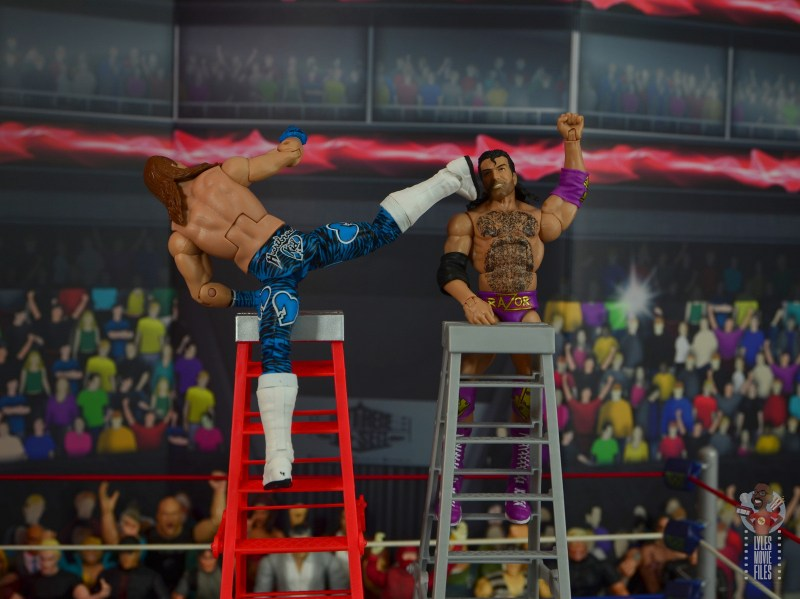 wwe network spotlight shawn michaels figure review - superkick to razor on the ladder