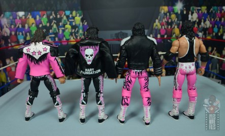 wwe ultimate edition bret hitman hart figure review - jacket rear with other bret hart figures