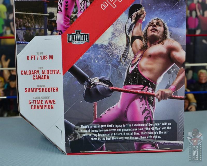 wwe ultimate edition bret hitman hart figure review - package bio