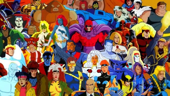 x-men cartoon collage