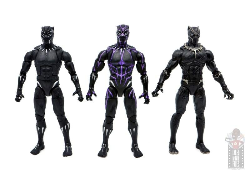 marvel legends black panther vibranium effect figure review - with plain suit and civil war suit